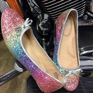 Rainbow 🌈 sparkle girl shoes size 5 flats
